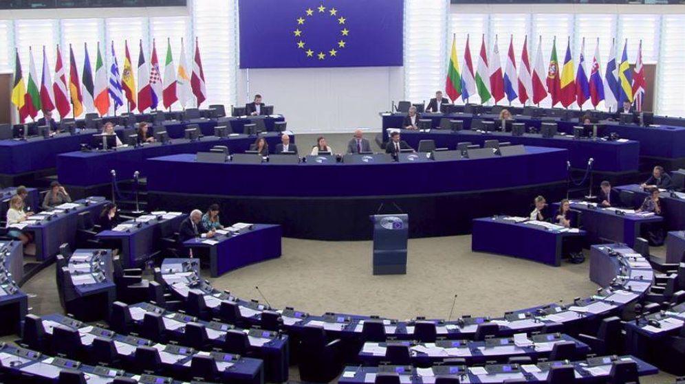 Foto: El Parlamento Europeo, prácticamente vacío durante la sesión sobre el Aquarius.