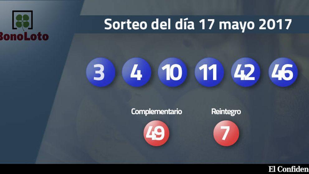 Combinación ganadora de la Bonoloto del 17 mayo 2017: números 3, 4, 10, 11, 42, 46