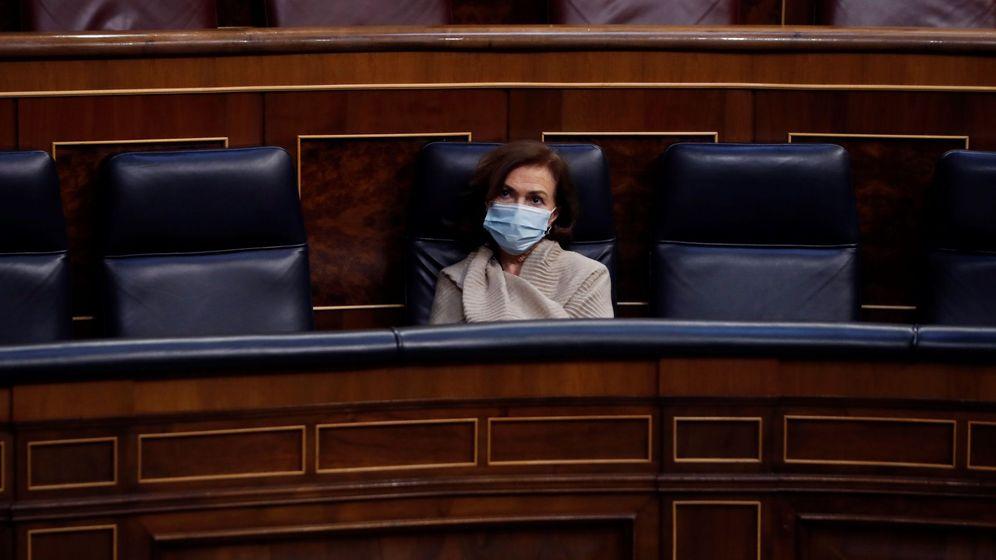 Foto: La vicepresidenta primera del Gobierno, Carmen Calvo, en el debate del Congreso para prorrogar el estado de alarma (EFE)
