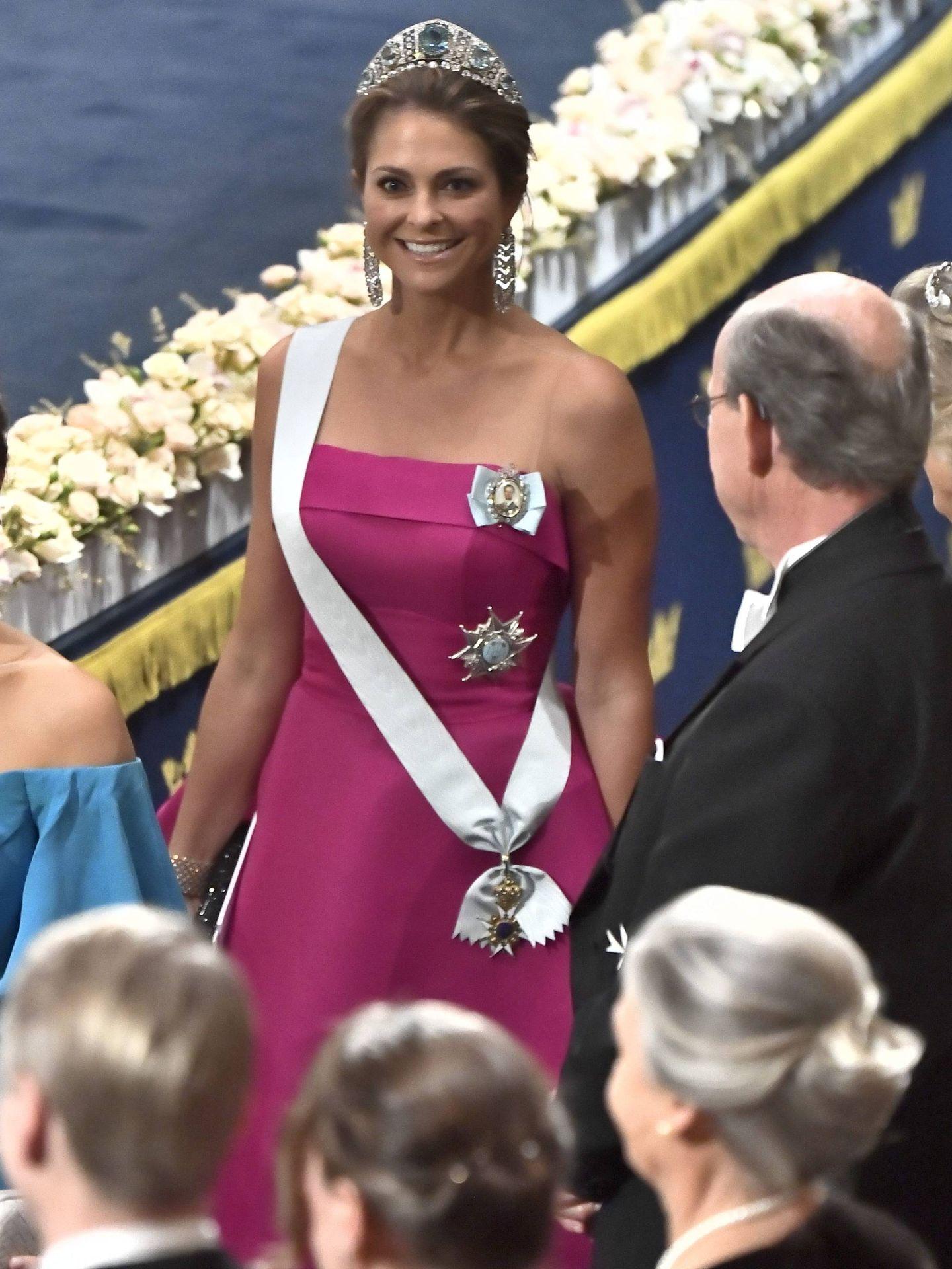 La princesa Magdalena, en la ceremonia de los Premios Nobel, este martes. (Cordon Press)
