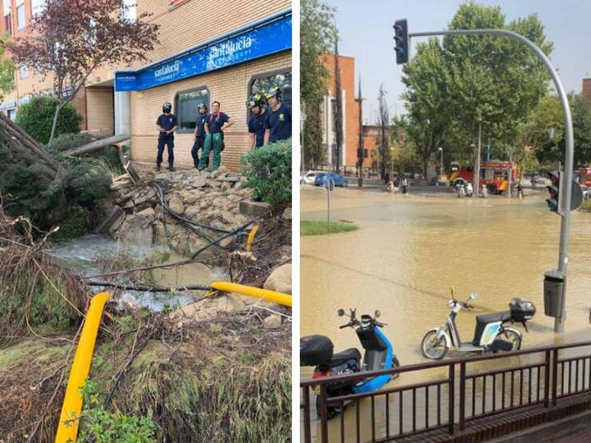 Foto: La rotura de una tubería del Canal de Isabel II en el barrio madrileño de San Blas