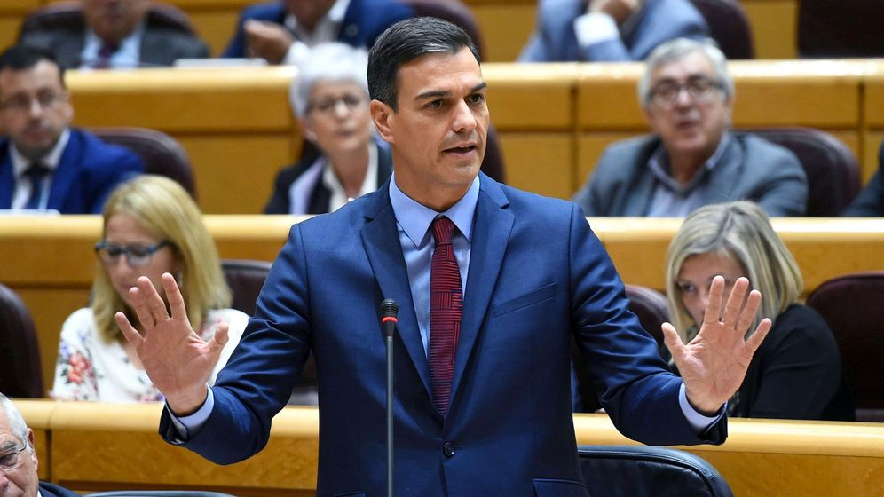 Foto: El presidente del Gobierno, Pedro Sánchez, durante en el Senado. (EFE)