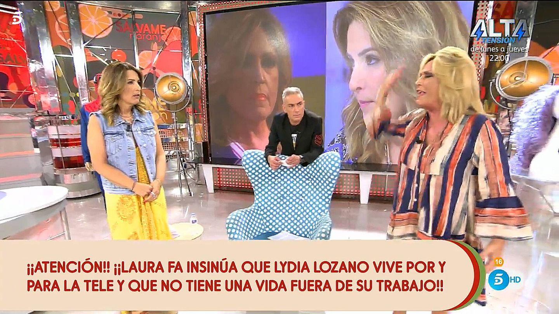 Laura Fa y Lydia Lozano, en 'Sálvame'. (Telecinco)