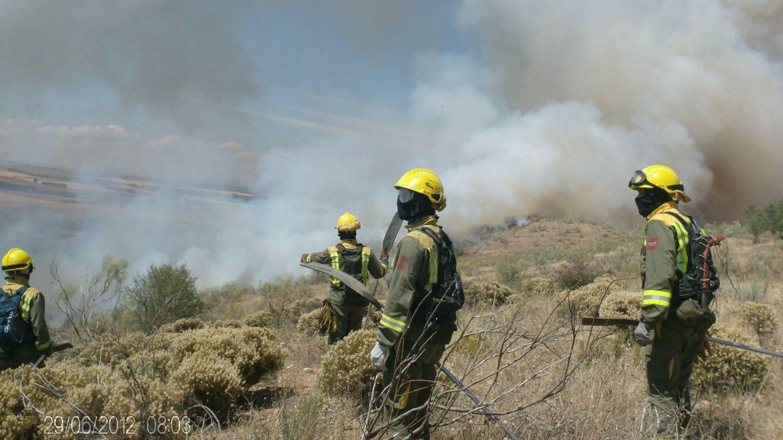 Bomberos forestales de Madrid trabajando en un incendio con su EPI.