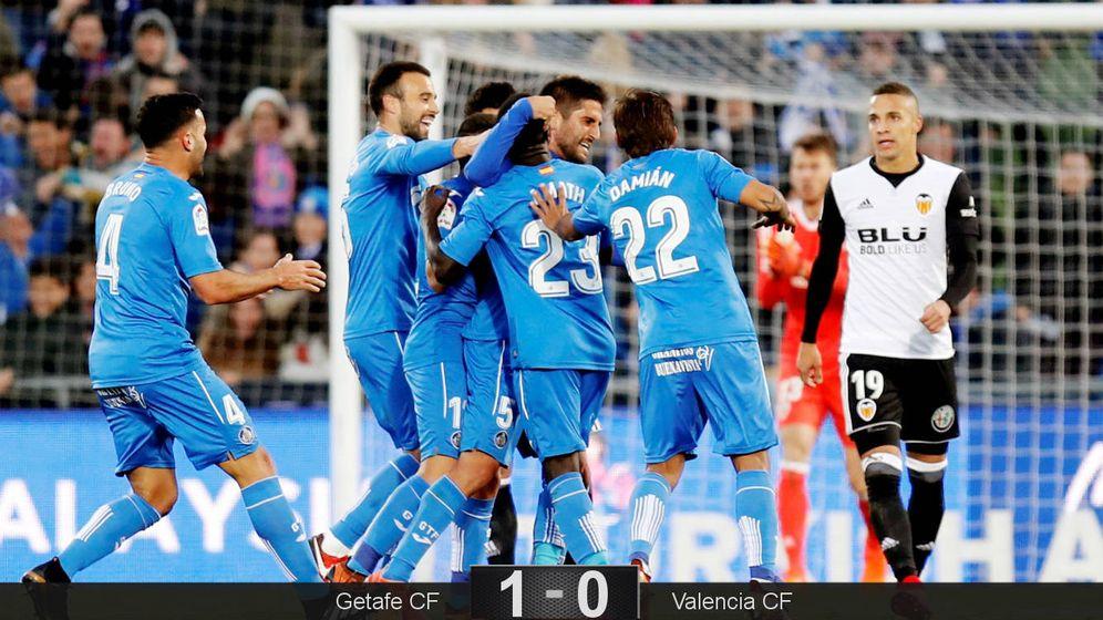 Foto: Los jugadores del Getafe celebran el gol de Markel Bergara. (EFE)