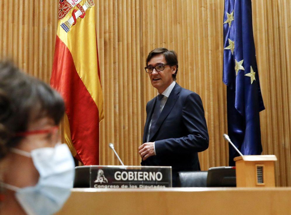 Foto: El ministro de Sanidad, Salvador Illa, este 16 de abril en el Congreso. (EFE)