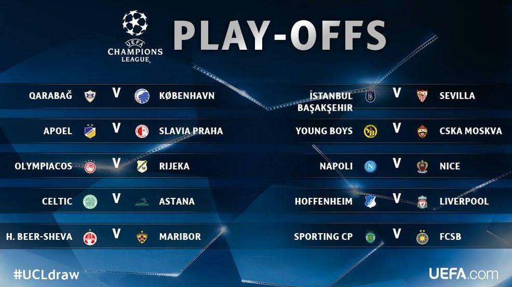 Foto: Los duelos de los Play Offs. (UEFA)