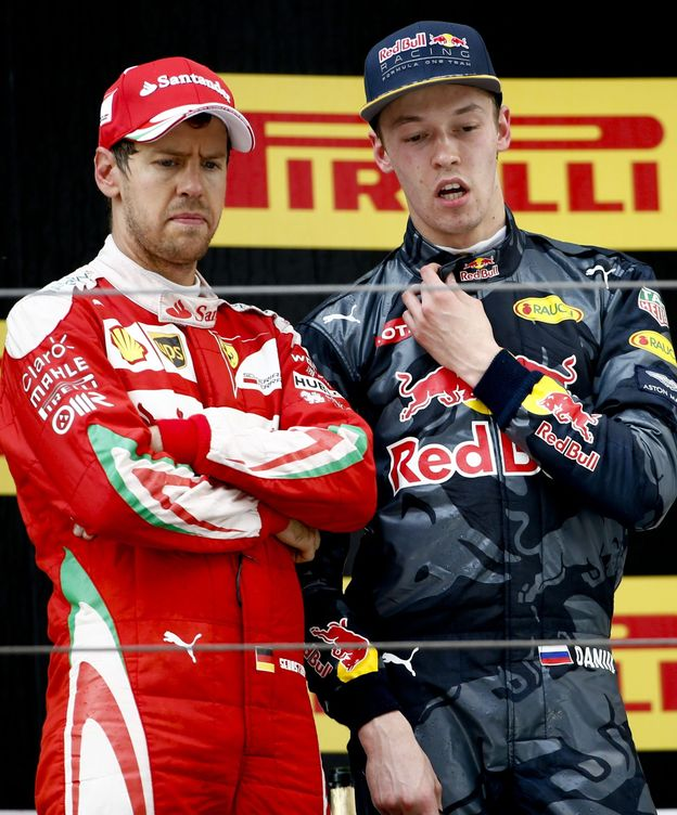 Foto: Vettel y Kvyat, protagonistas.