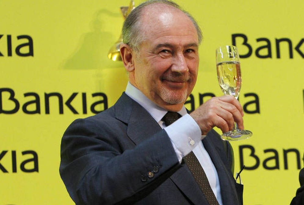 Foto: El expresidente de Bankia, Rodrigo Rato, en la salida a bolsa de 2011 (Efe)
