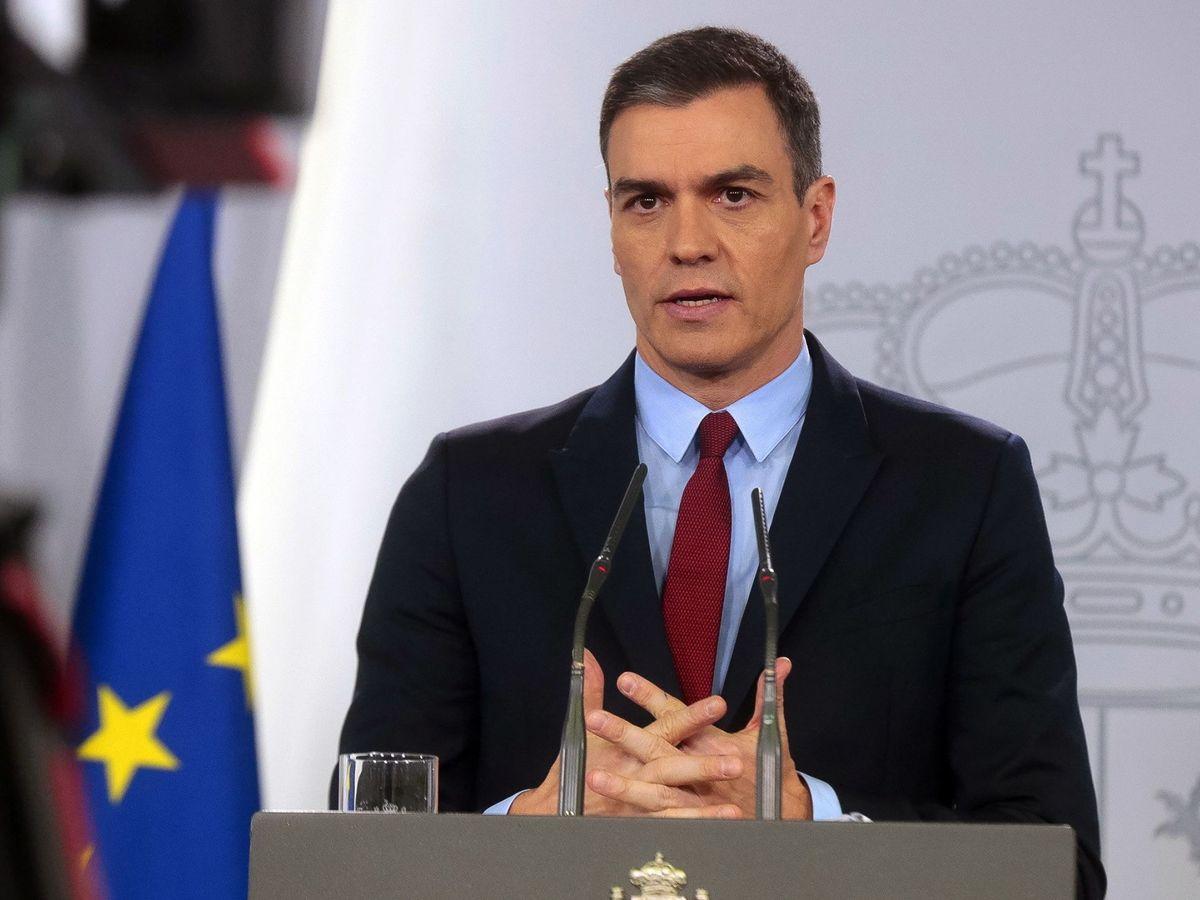 Foto: Pedro Sánchez, durante su comparecencia de este 14 de marzo, tras decretar el estado de alarma. (EFE)