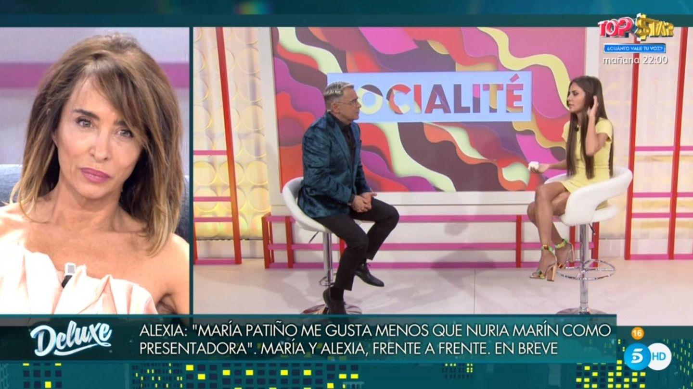 María Patiño observando la entrevista de Jorge Javier a Rivas. (Telecinco).