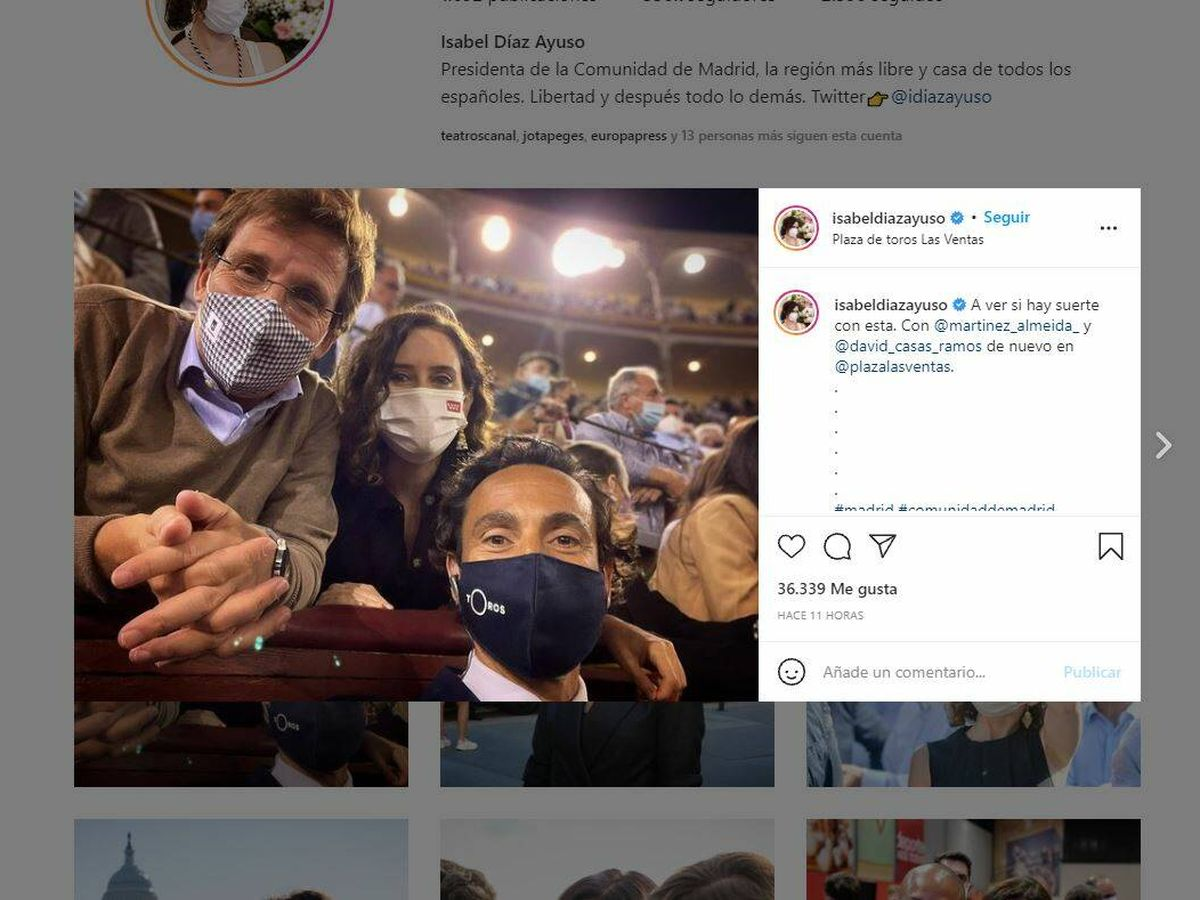 Foto: Foto: Instagram de Isabel Díaz Ayuso.