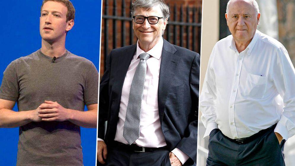Foto: Mark Zuckerberg, Bill Gates y Amacio Ortega (Foto: ElConfidencial)