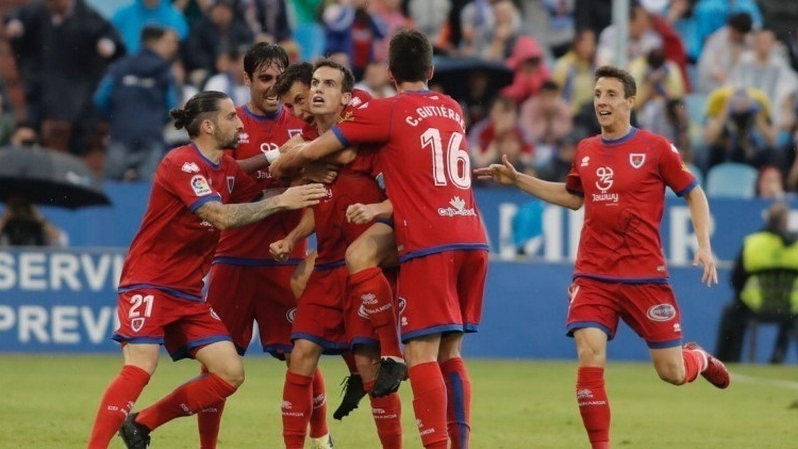 Foto: Jugadores del Numancia celebran un gol. (Europa Press)