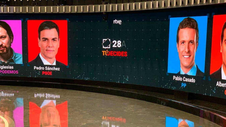 Todo listo en el Estudio 1 de Prado del Rey de TVE, donde se celebrará este 22 de abril el primer debate a cuatro de la campaña del 28-A. (rtve.es)