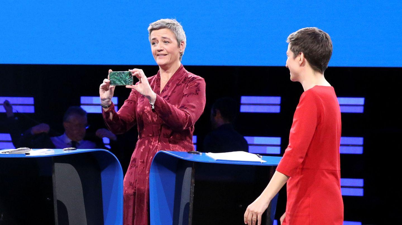 Margrethe Vestager, candidata liberal, durante el debate de las elecciones europeas. (Reuters)