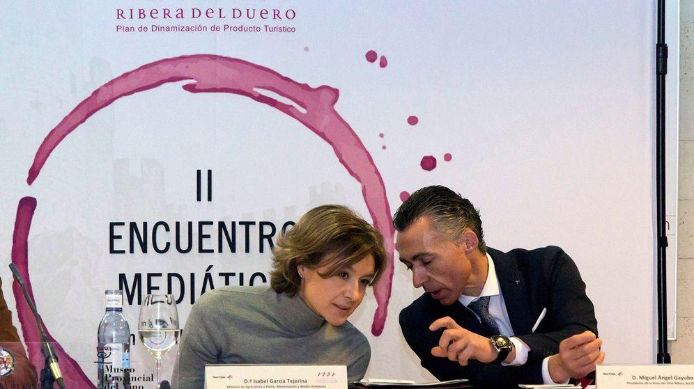 Foto: La ministra de Agricultura, Pesca, Alimentación y Medio Ambiente, Isabel García Tejerina,conversa con el presidente de la Ruta del Vino, Miguel Ángel Gayubo. (EFE)
