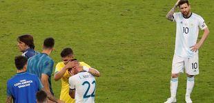 Post de El llanto de Leo Messi (por el árbitro) en la ejecución de Brasil a Argentina