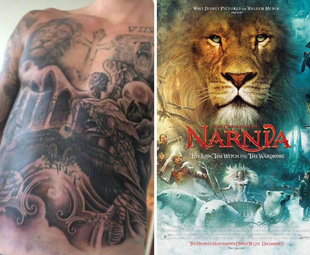 Foto: El torso de Bieber y el cartel de Narnia.