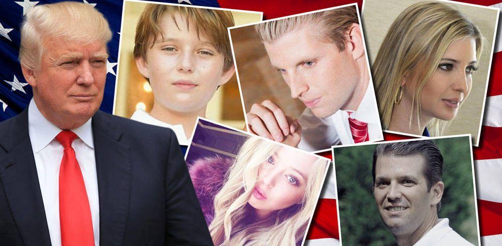 Foto: Donald Trump y sus cinco hijos (Fotomontaje de Vanitatis)