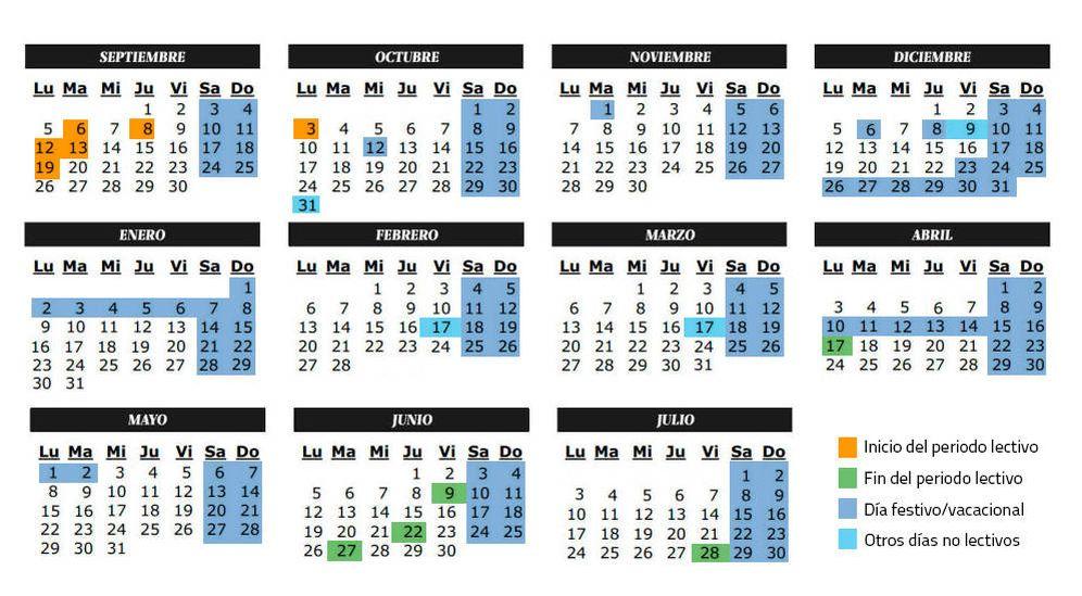 Calendario Escolar Madrid.Vacaciones Calendario Escolar Del Curso Academico 2016 2017