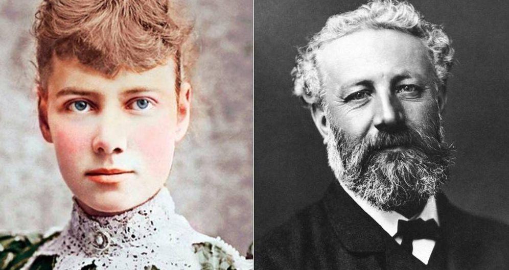 Foto: Nellie Bly y Julio Verne.