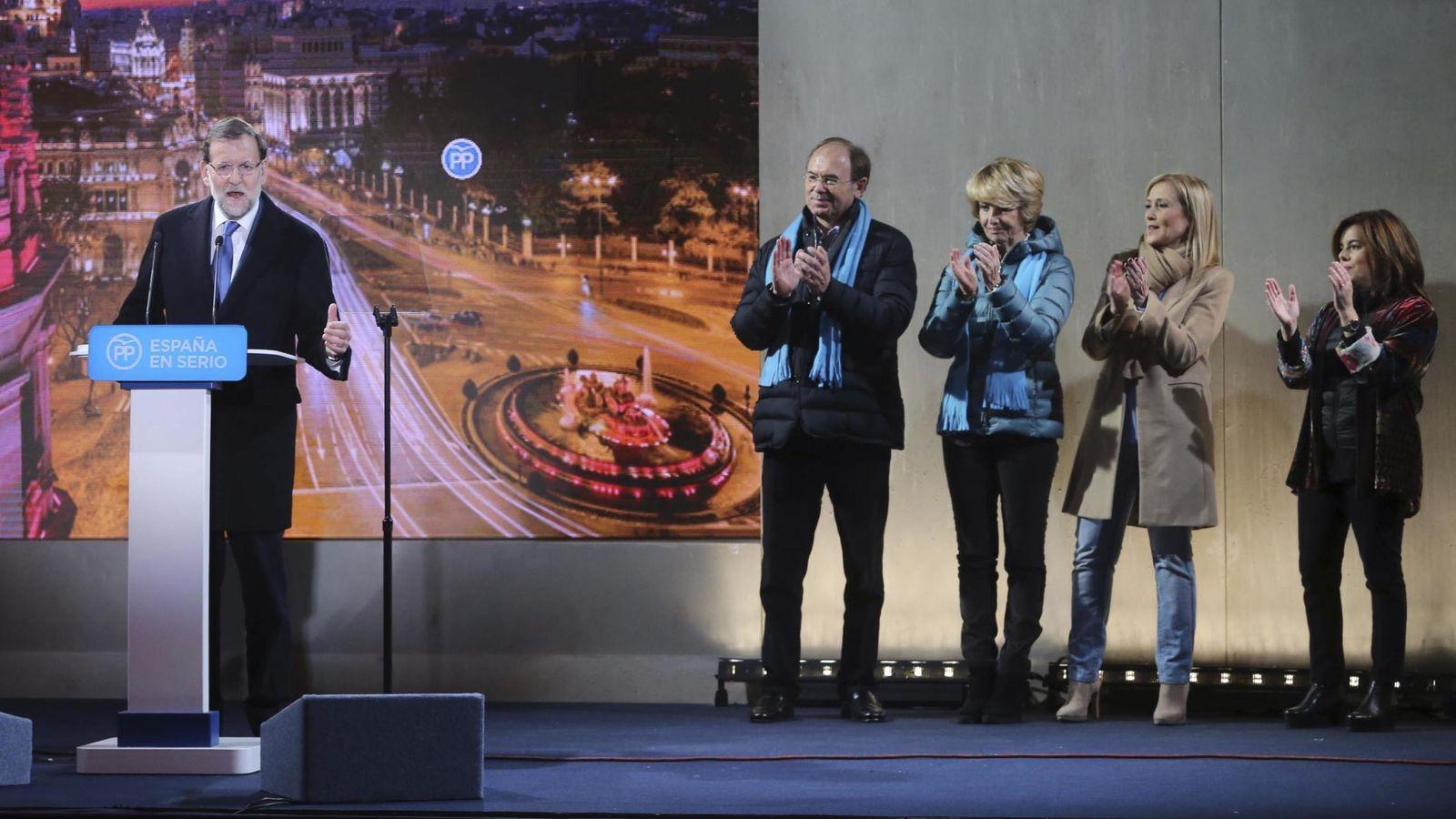 Foto: Rajoy, durante el acto de inicio de la campaña electoral en Madrid. (EFE)