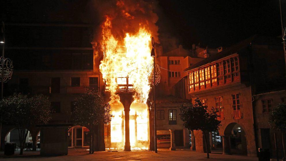 El incendio de Pontevedra, sofocado después de siete horas de trabajo