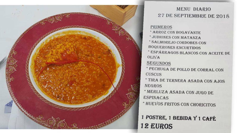 Foto: Arroz con bogavante y el menú del día.
