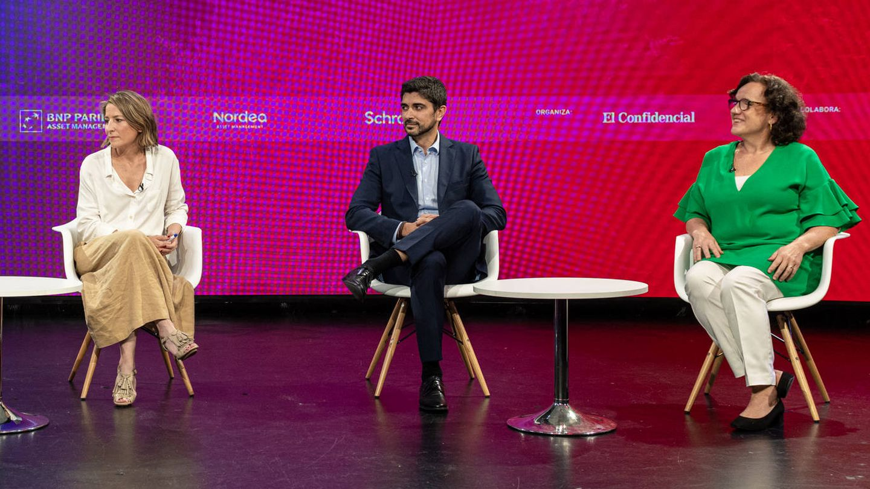 Pilar Vila, Schroders Investment Management; Lorenzo González, Nordea AM; y Sol Hurtado de Mendoza, BNP Paribas AM.