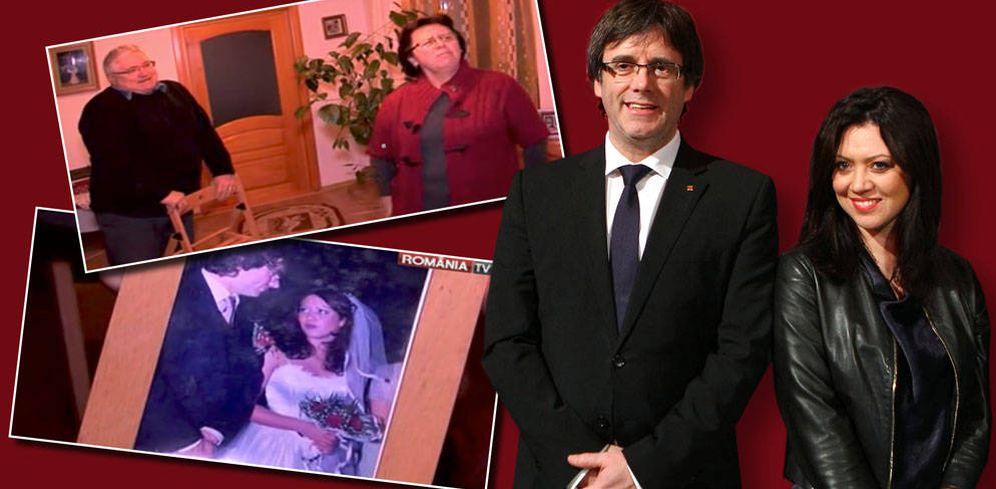 Foto: Carles Puigdemont, su esposa Marcela Topor y sus suegros rumanos. (Fotomontaje realizado por Vanitatis)