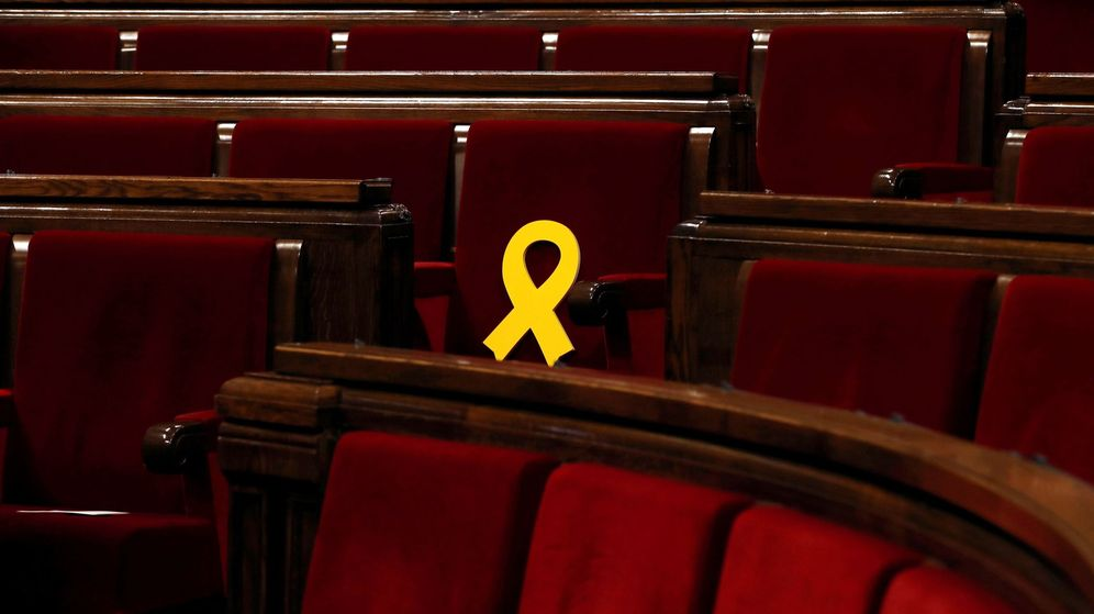 Foto: Lazo amarillo en el escaño de Oriol Junqueras. (EFE)