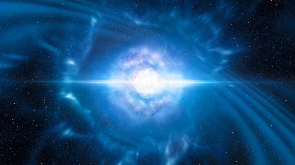 Foto: Ilustración artística de la explosión de una kilonova emitiendo ondas gravitacionales y luz. (ESO)