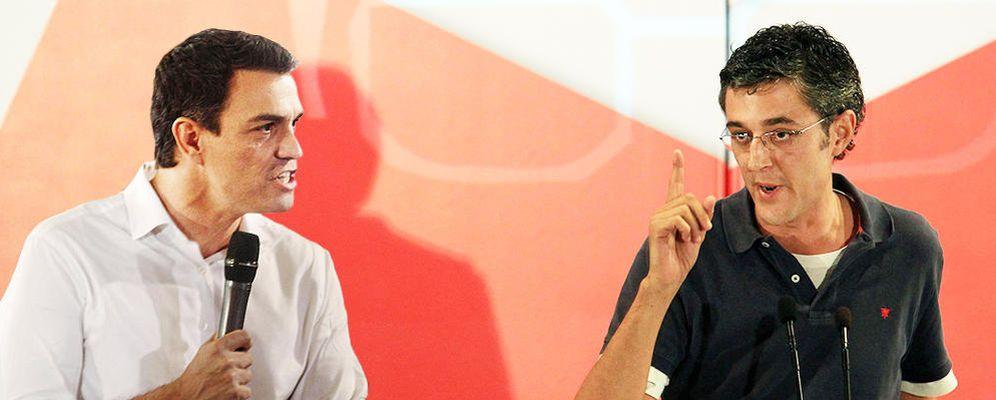 Foto: El secretario general del PSOE, Pedro Sánchez, y el exdiputado vasco Eduardo Madina. (EC)