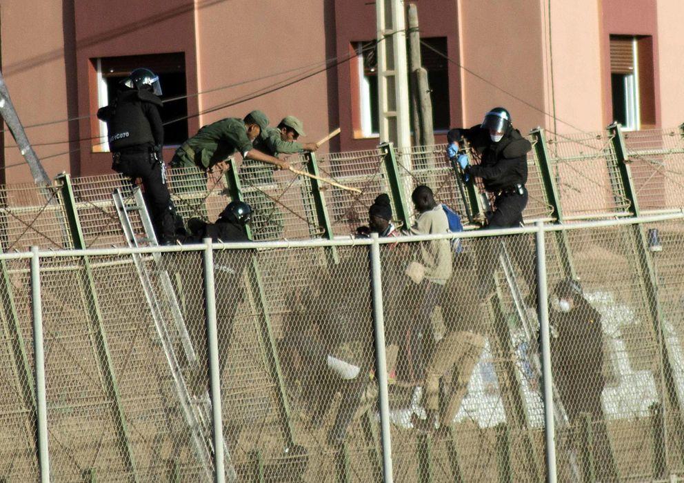Foto: Inmigrantes y fuerzas de seguridad marroquíes en la valla de Melilla. (Reuters)