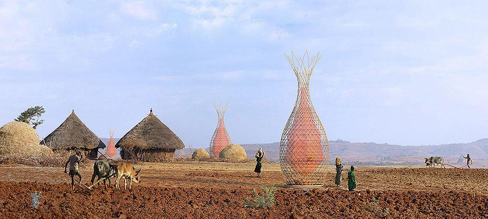 Foto: Torres de bambú y plástico para sacar agua potable del aire