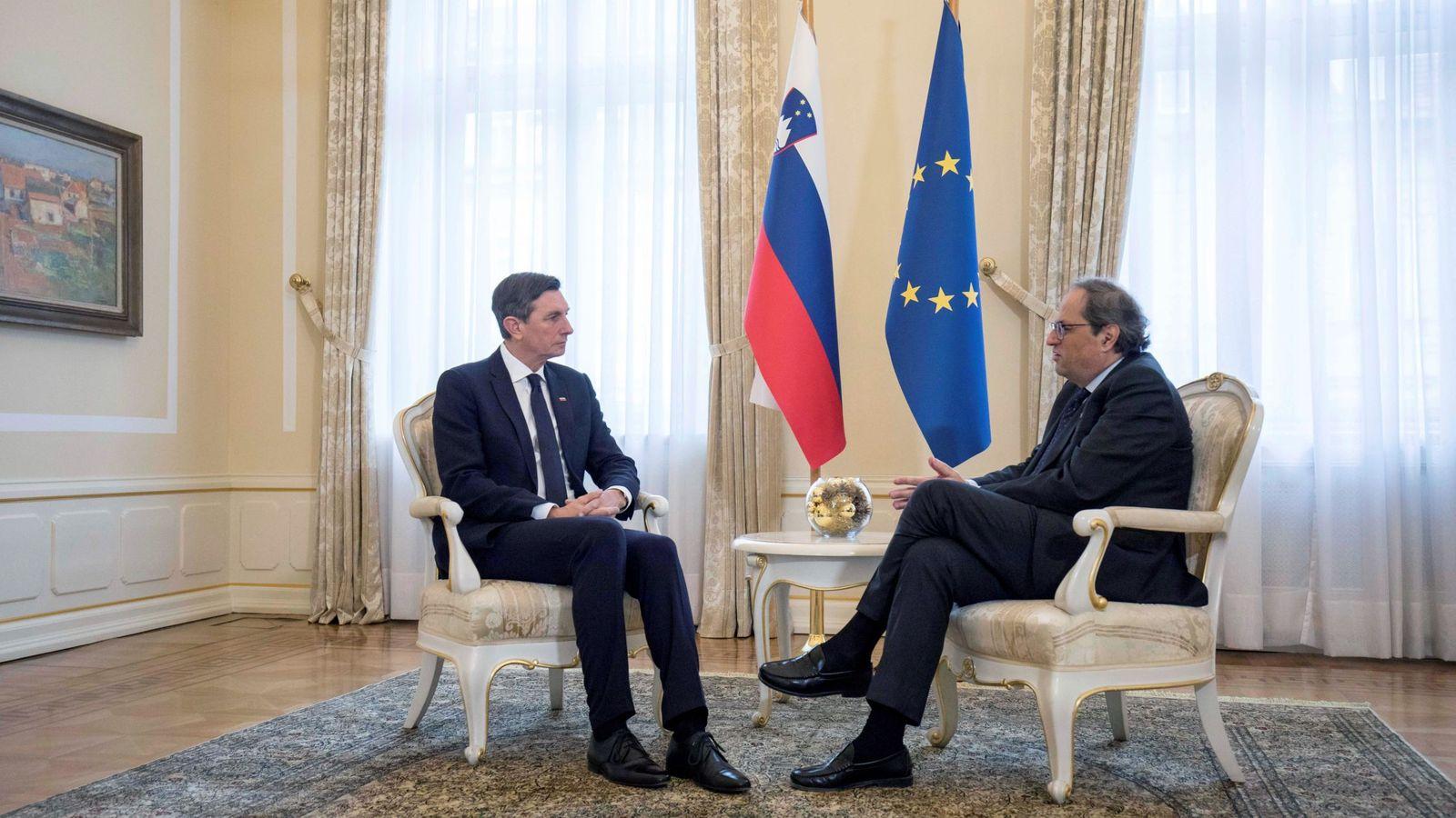 Foto: El presidente de la Generalitat, Quim Torra,durante la reunión con el presidente de Eslovenia, Borut Pahor. (EFE)