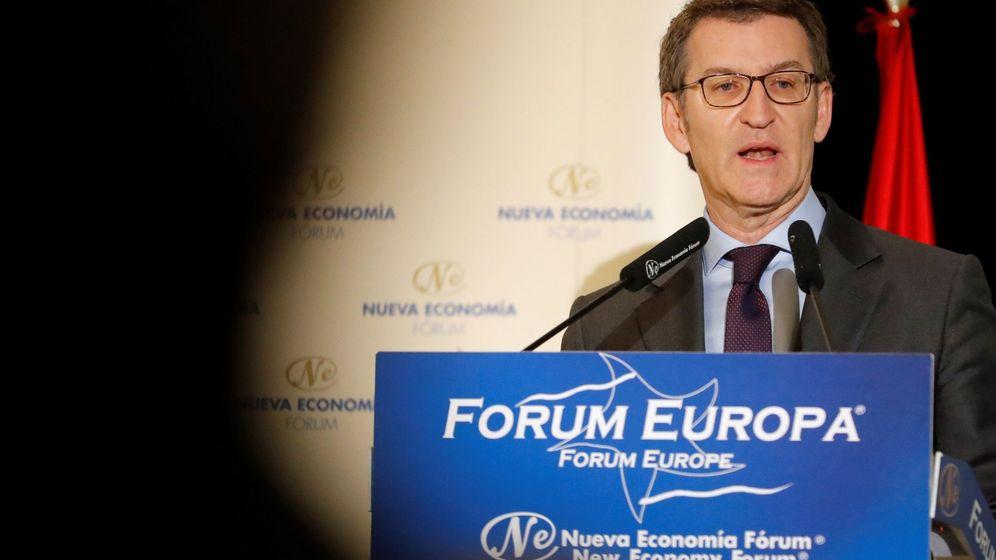 Foto: El presidente de la Xunta, Alberto Núñez Feijóo, participa en un desayuno informativo en Madrid, este martes. (EFE)