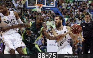 Unicaja obtiene su premio al trabajo y fuerza otro partido ante el Madrid