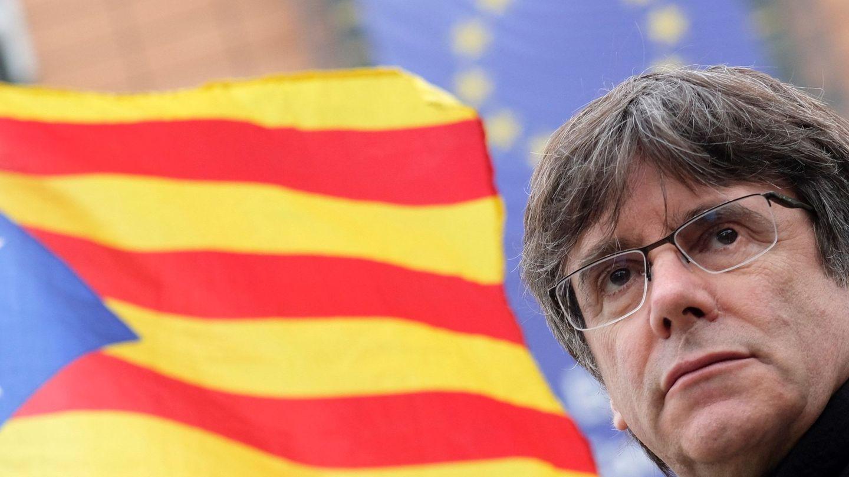 Puigdemont, durante una protesta independentista en Bruselas, donde reside tras fugarse. (EFE)