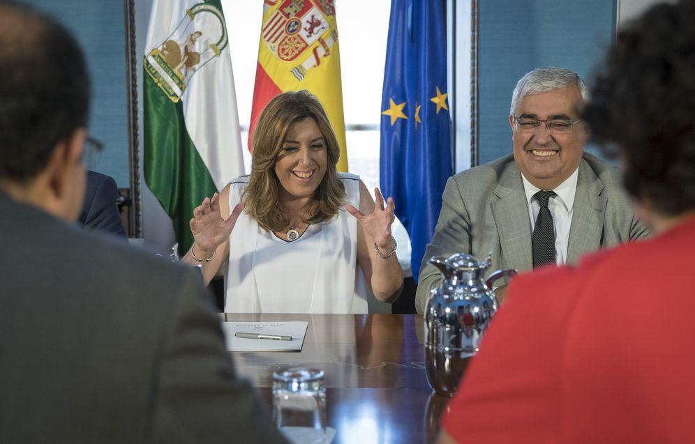 Foto: Susana Díaz, durante su reunión con rectores andaluces, el pasado 14 de junio en Sevilla. (EFE)