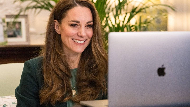 Kate Middleton, durante un encuentro virtual. (Palacio de Kensington)