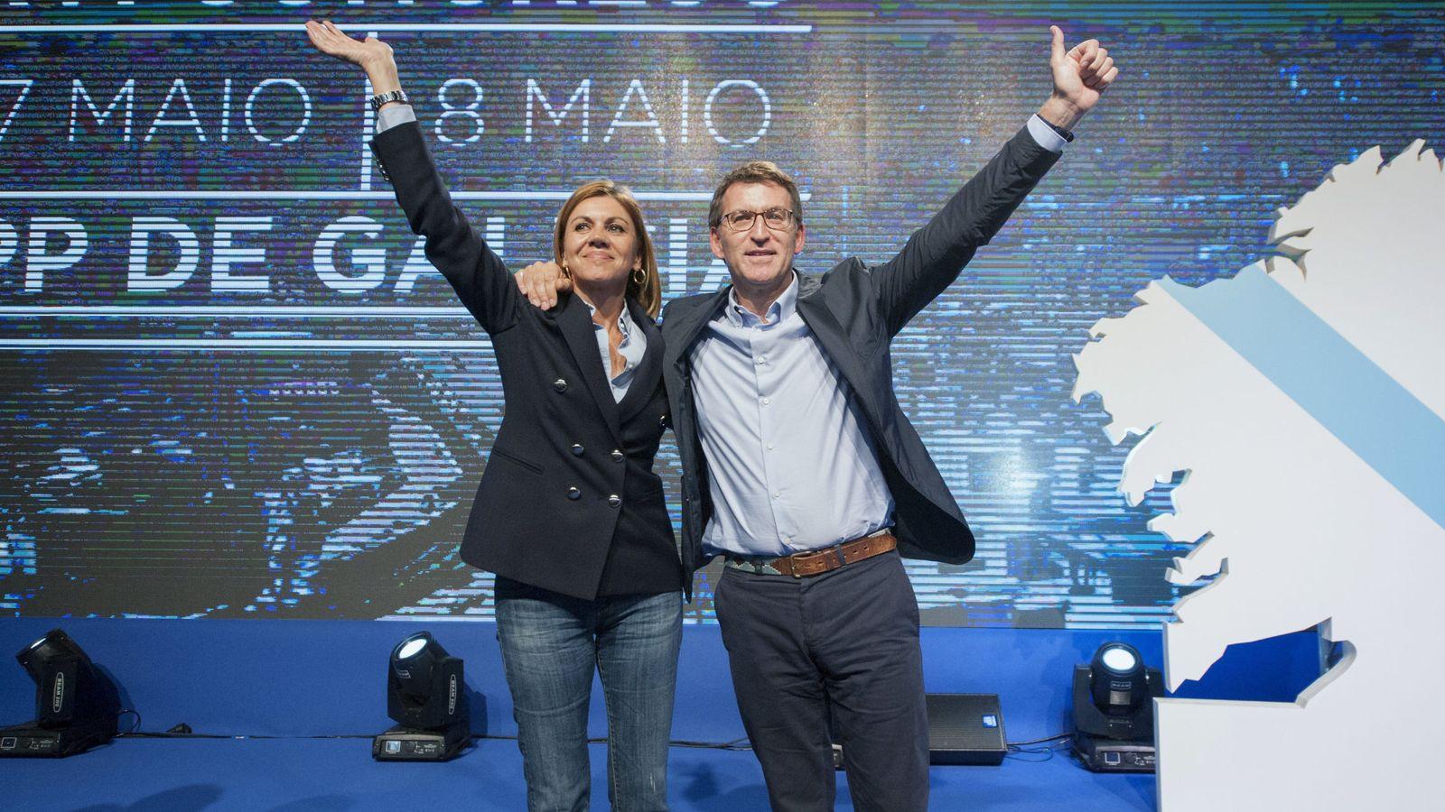 Foto: El presidente de la Xunta de Galicia, Alberto Núñez Feijóo, y la secretaria general del PP, María Dolores de Cospedal. (Efe)