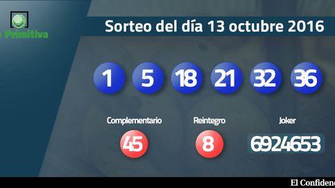 Resultados del sorteo de la Primitiva del 13 de octubre de 2016: números 1, 5, 18, 21, 32, 36