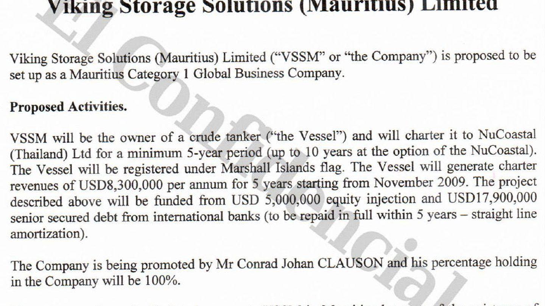 Plan de negocio de VSSM para el barco Coastal Energy Resolution. (Mauritius Leaks/ICIJ)