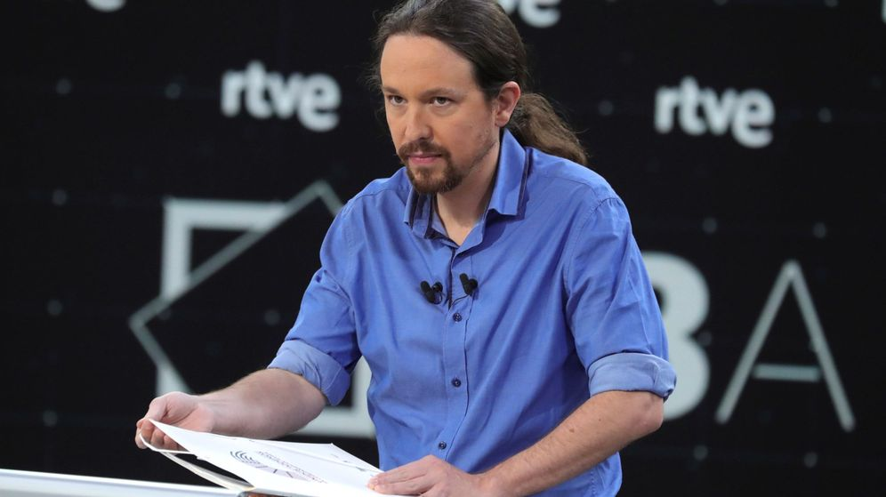 Foto: Pablo Iglesias durante el debate a cuatro de RTVE (Efe)
