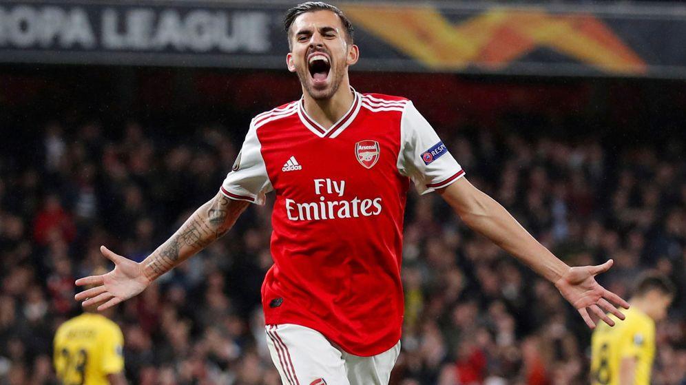 Foto: Dani Ceballos celebra un gol con el Arsenal. (EFE)