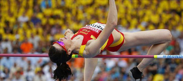 Foto: Beitia en uno de los saltos que le ha dado el bronce.