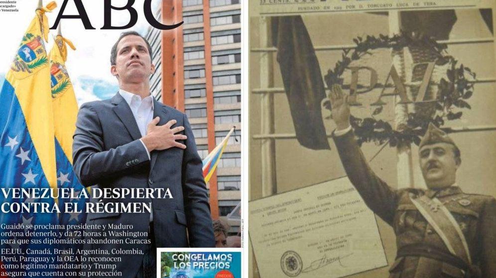 Foto: Montaje de la Embajada de Venezuela en España con dos portadas del diario 'ABC'