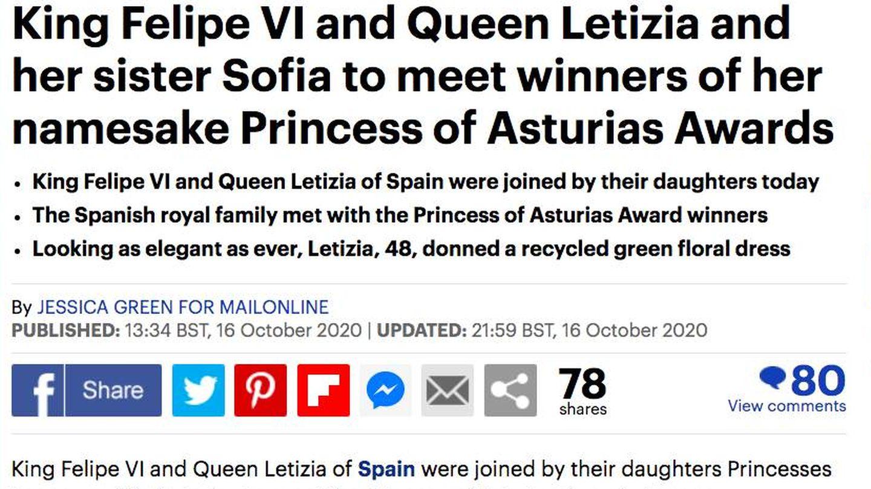 La noticia sobre los Premios Princesa de Asturias en el 'Daily Mail'.
